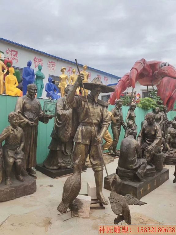玻璃钢仿铜打渔雕塑,海边人物雕塑