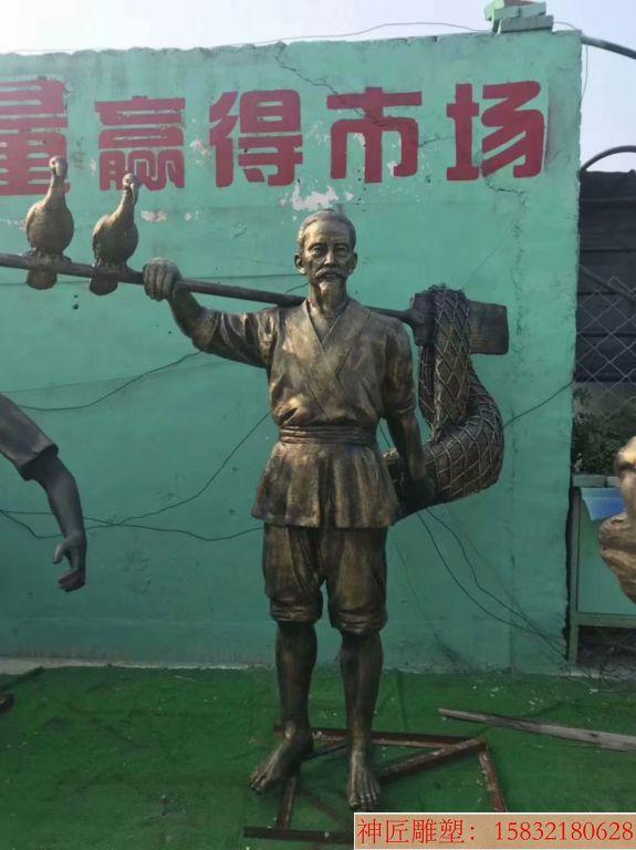 玻璃钢仿铜打渔雕塑,海边人物雕塑1